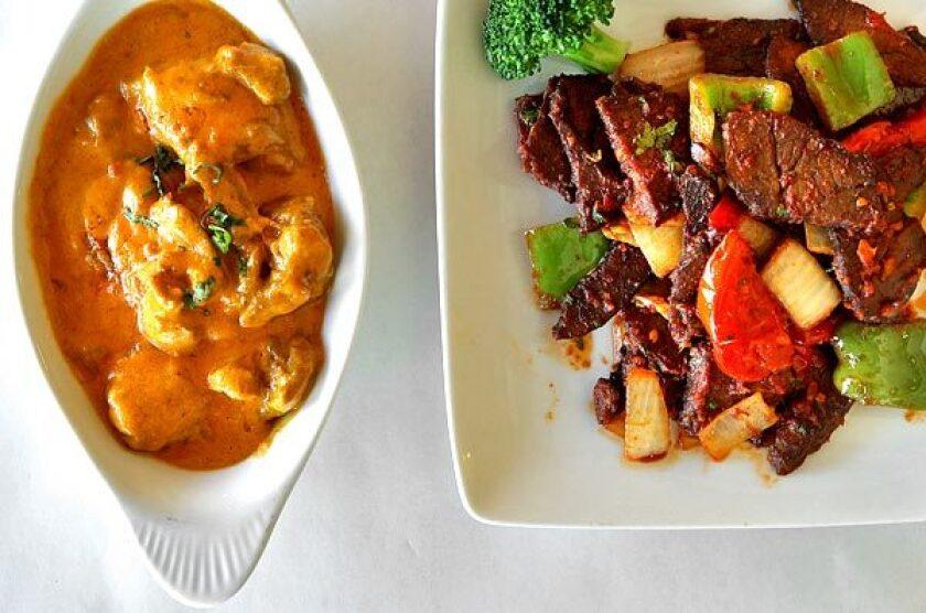Chicken korma and yak chili.
