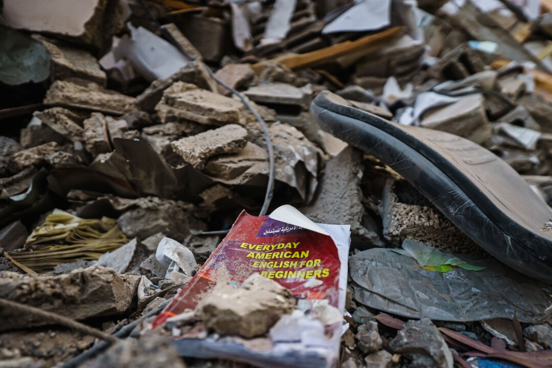 English educational book in ruins of bookstore