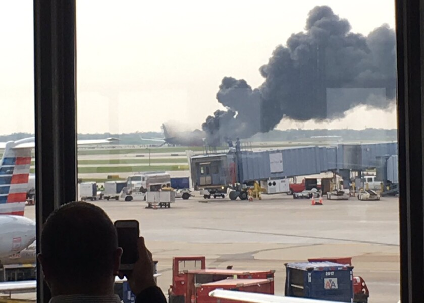 O'Hare plane suffers fire