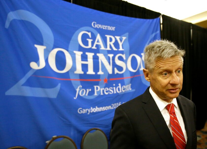 FILE - In a Friday, May 27, 2016 file photo, Libertarian presidential candidate Gary Johnson speaks to supporters and delegates at the National Libertarian Party Convention, in Orlando, Fla. Omn Sunday, May 29, 2016, The Libertarian Party again nominated former New Mexico Gov. Johnson as its presid