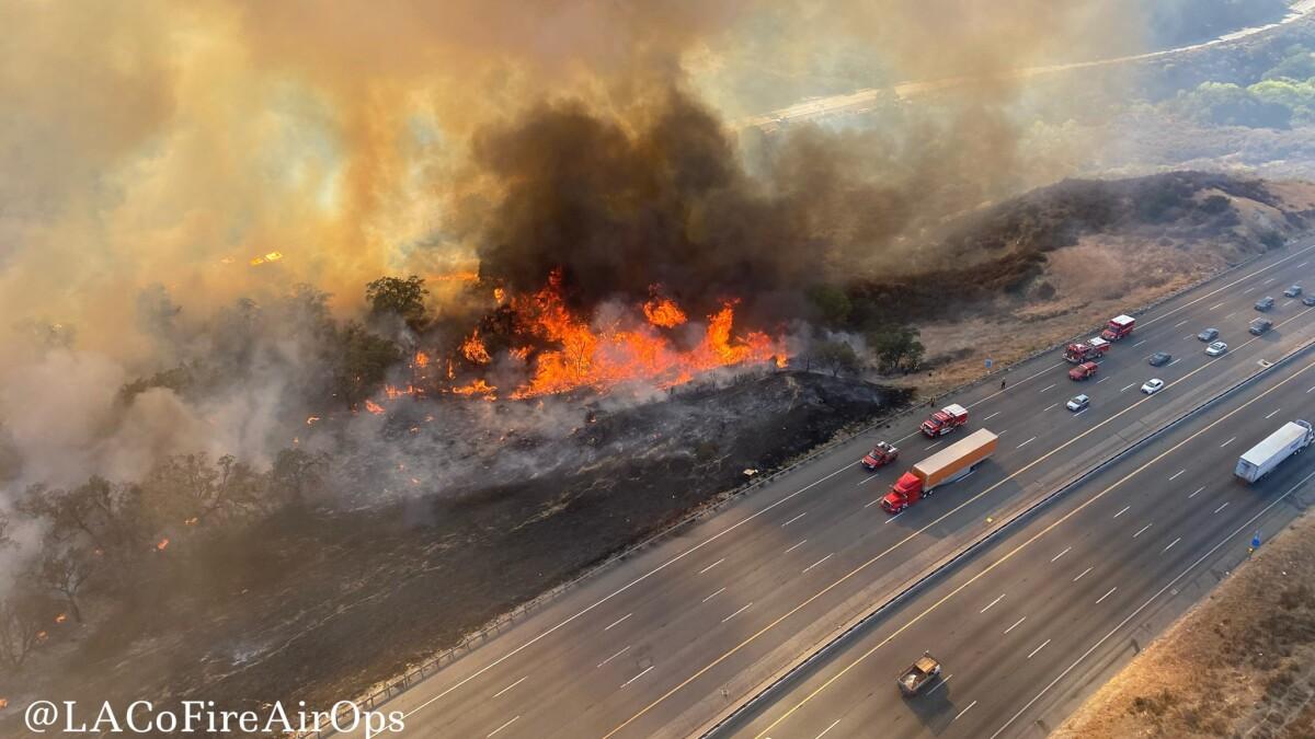 Wildfire Shuts Down California Highway