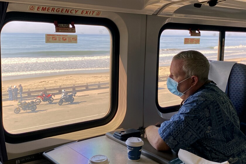The view from a business-class seat aboard the Pacific Surfliner.