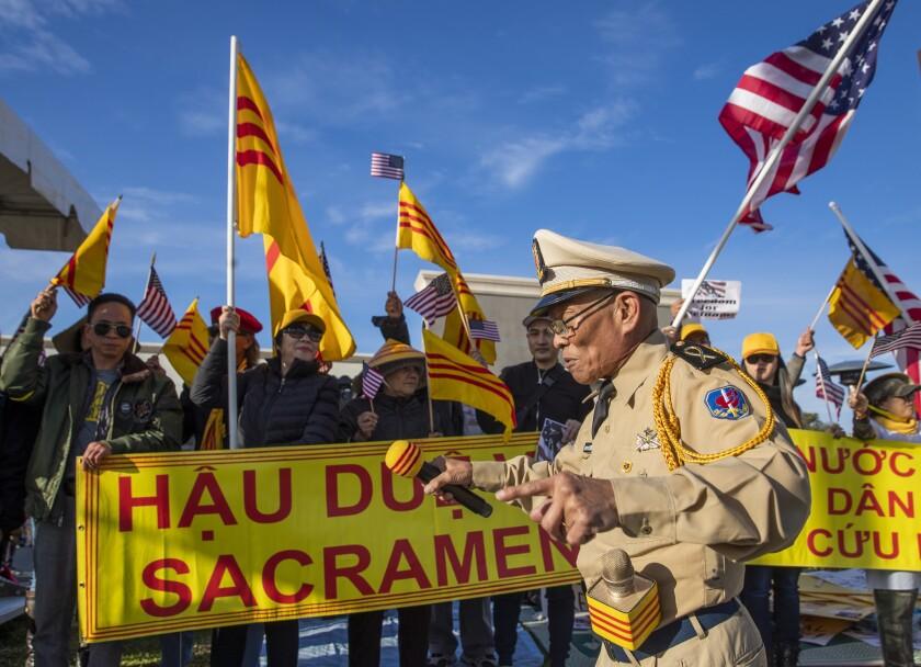 Protesters in Orange County's Little Saigon