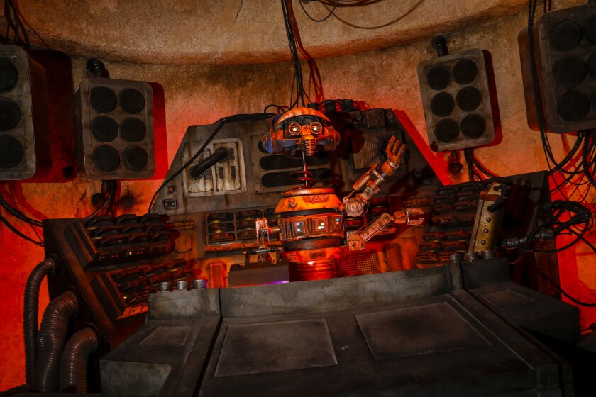 Inside Oga's Cantina at Star Wars: Galaxy's Edge.