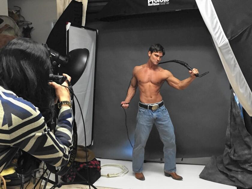 Jason Baca whips it up for photographer Portia Shao; Baca is a top romance novel cover model.