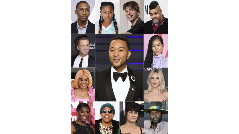 This combination photo shows singer-songwriter John Legend, center, with artists he has collaborated with, clockwise from top left, Raphael Saadiq, Rapsody, Charlie Puth, Oak Felder, Jhené Aiko, Julia Michaels, Gary Clark Jr., Teddy Geiger, Anderson.Paak, Ester Dean, Tayla Parx and Ryan Tedder. (AP Photo)