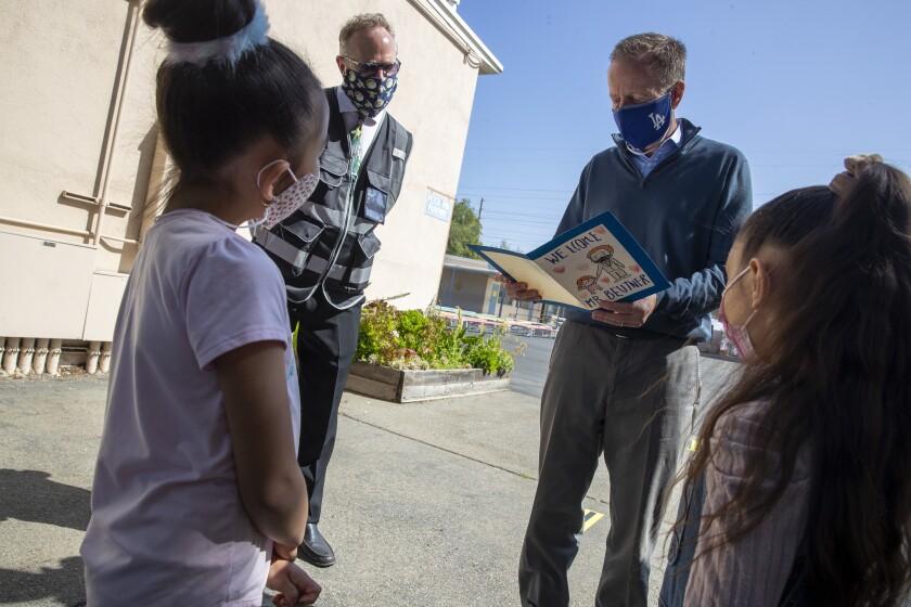 First-graders greet L.A. schools Supt. Austin Beutner this week.