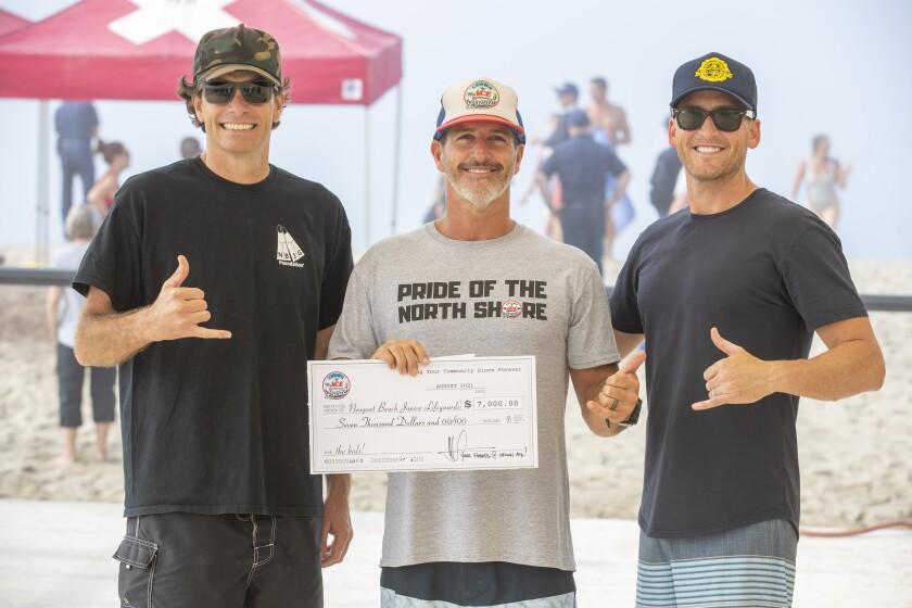 Graham Harvey, Mark Schulein and Jake Janz at the Newport Pier jump event.