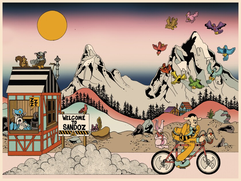 "Illustrations from ""Brian Blomerth?s Bicycle Day."" Credit: BRIAN BLOMERTH'S BICYCLE DAY, Published b"