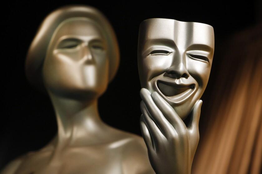 A closeup of a SAG Awards trophy