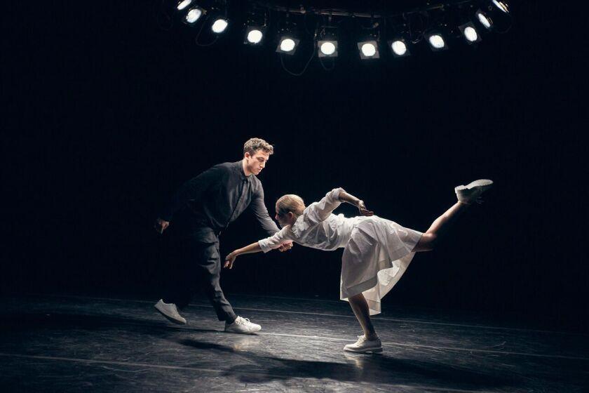 "Aspen Santa Fe Ballet's Emily Proctor and Anthony Tiedeman in choreographer Fernando Melo's ""Re:Play."""