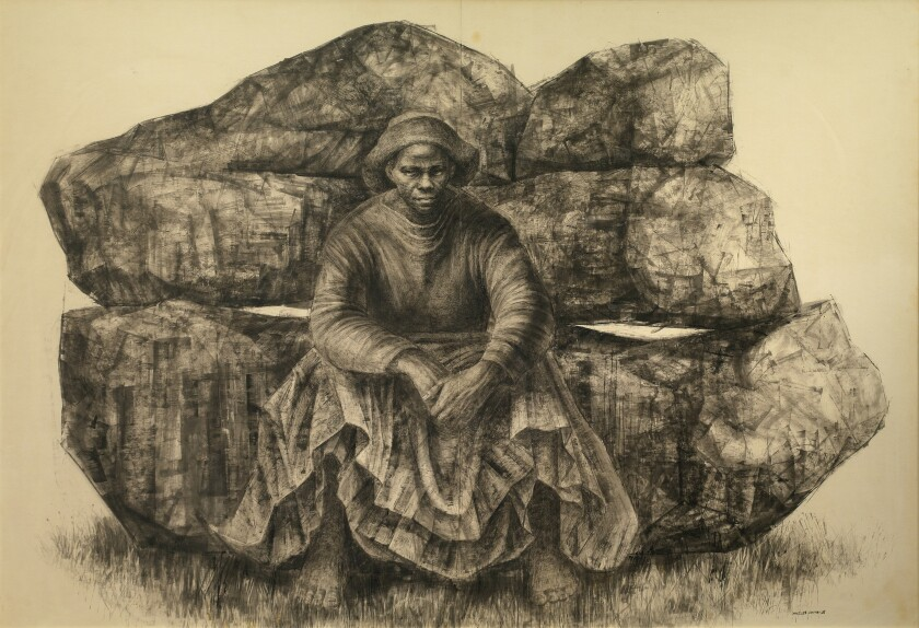 "Charles White's ""General Moses (Harriet Tubman),"" 1965, ink on paper."