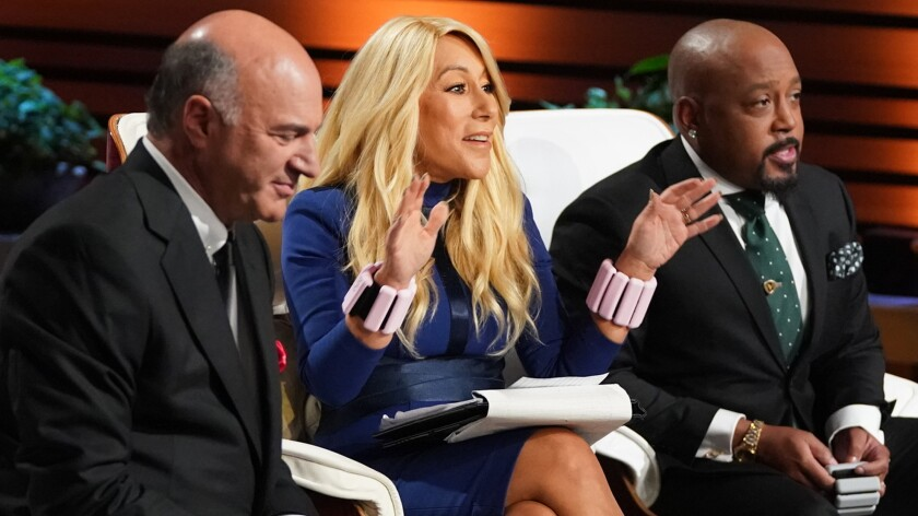 """Kevin O'Leary, left, Lori Greiner and Daymond John in """"Shark Tank"""" on ABC."""