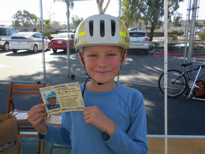 Fifth grader Everett Alden completed the courses and earned a California 'driver's license' for riding a bicycle and scooter.