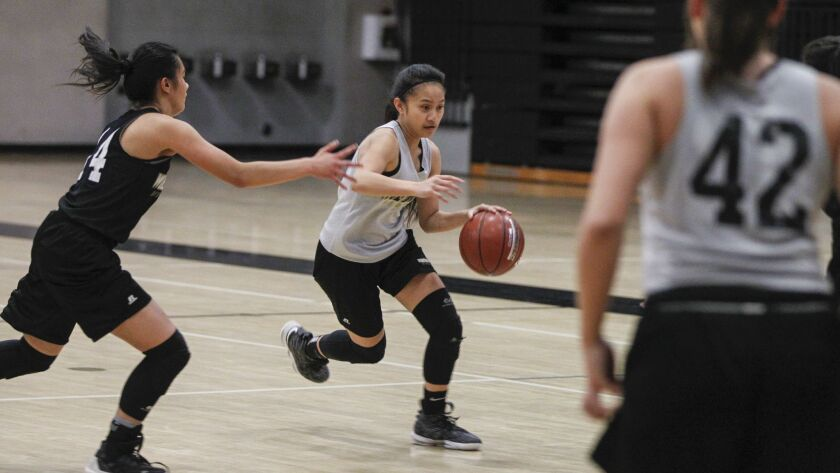 SAN DIEGO, CA February 14th, 2019 | Westview High School girls basketball player Sarina Dacio (right