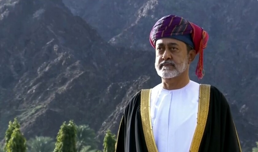 This image made from video shows Oman's new sultan Haitham bin Tariq Al Said, takes part in canon firing salute ceremony outside the Royal Family Council in Muscat, Oman, Saturday, Jan. 11, 2020. Sultan Qaboos bin Said, the Mideast's longest-ruling monarch who seized power in a 1970 palace coup and pulled his Arabian sultanate into modernity while carefully balancing diplomatic ties between adversaries Iran and the U.S., has died. He was 79. (Oman TV via AP)