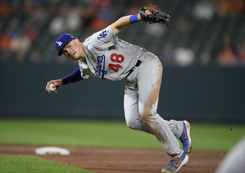 Dodgers second baseman Gavin Lux looks to throw to first base during a game against the Baltimore Orioles in September.
