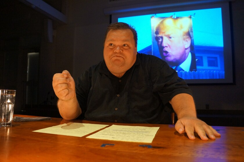 """Mike Daisey in """"The Trump Card."""""""