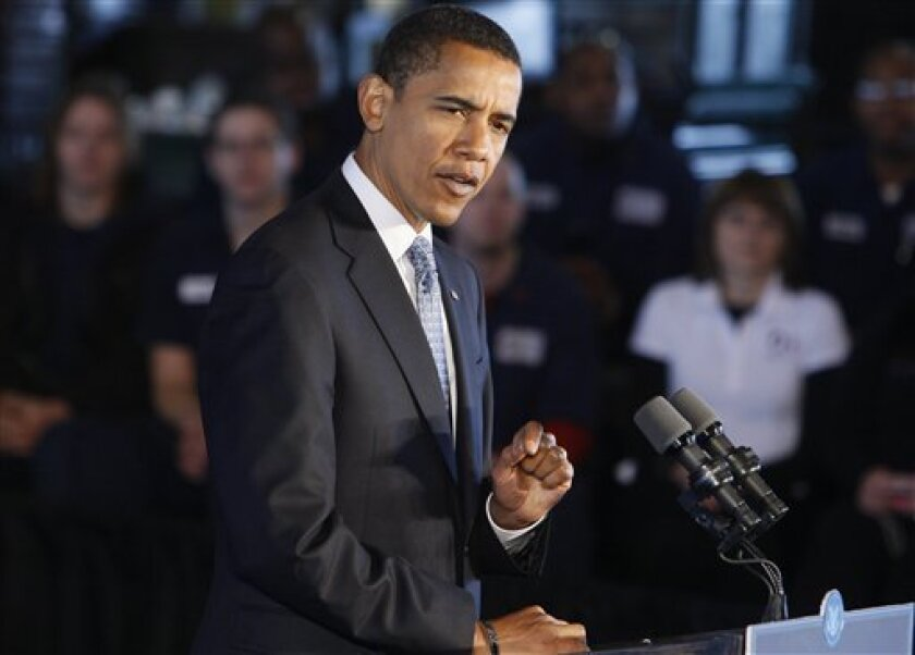 President-elect Barack Obama speaks to workers about the economy after touring Cardinal Fastener and Specialty Company, which manufactures screws and bolts needed for commercial construction and wind turbines, Friday, Jan. 16, 2009, in Bedford Heights, Ohio. (AP Photo/Charles Dharapak)