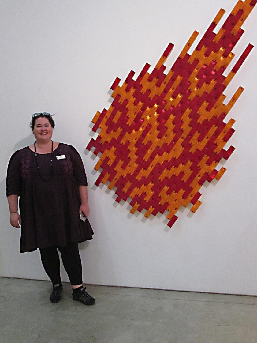 April Farrell with 'Cometa,' by Jaime Ruiz Otis