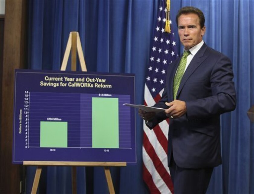 Gov. Arnold Schwarzenegger walks past a chart showing projected savings to the state if his proposed reforms to the state's welfare programs were enacted, as he leaves a Capitol news conference in Sacramento, Calif., Wednesday, July 8, 2009. Schwarzenegger defended his proposals to reform welfare and other social programs as negotiations over closing California's $26.3 billion deficit.(AP Photo/Rich Pedroncelli)