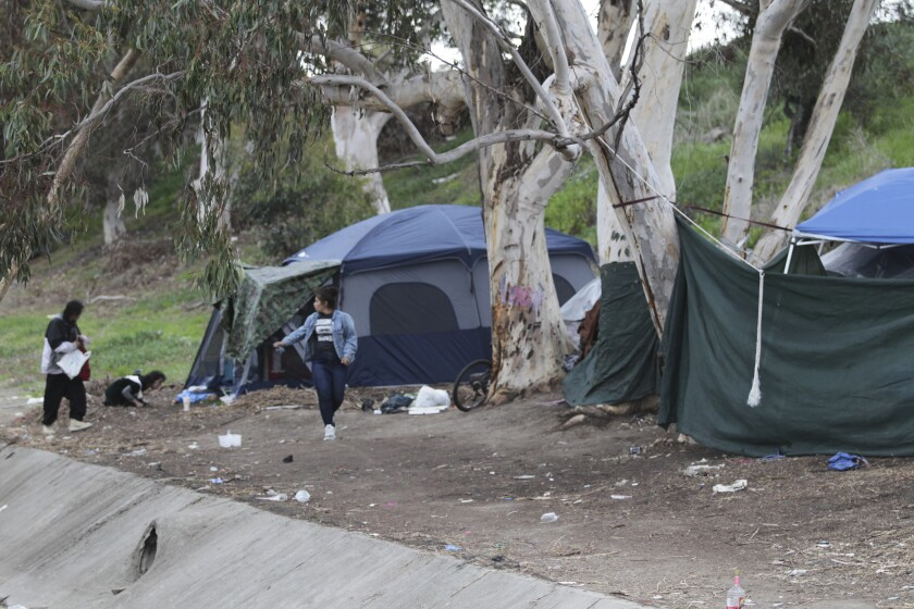 A homeless camp just south of the Oceanside Boulevard off ramp from Interstate 5 earlier this year.