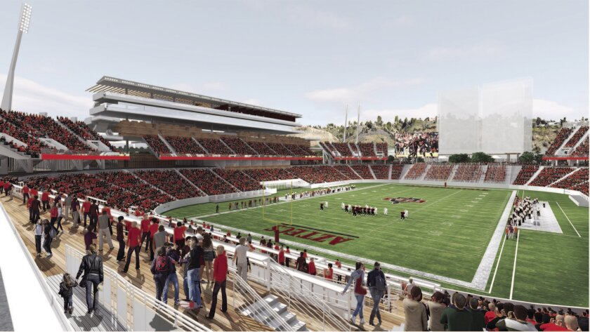 An old rendering of the proposed SDSU multi-use stadium in Mission Valley. The university has hired Clark Construction to turn its vision into a reality.