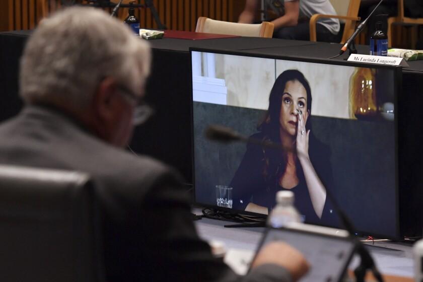 Mel Silva, managing director of Google Australia and New Zealand, appears via video during an Australian Senate inquiry.