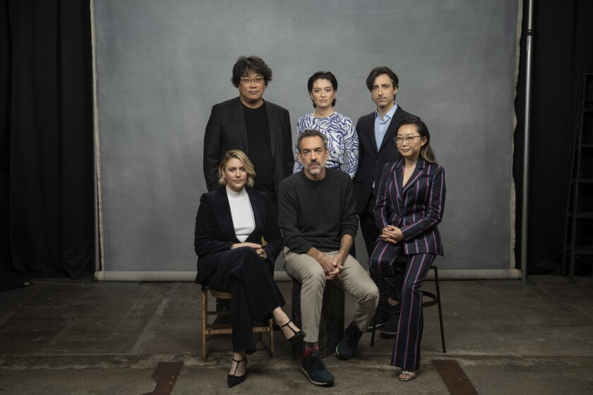 Directors Bong Joon Ho, Marielle Heller and Noah Baumbach (back row), Greta Gerwig, Todd Phillips and Lulu Wang at The Times' Envelope roundtable.