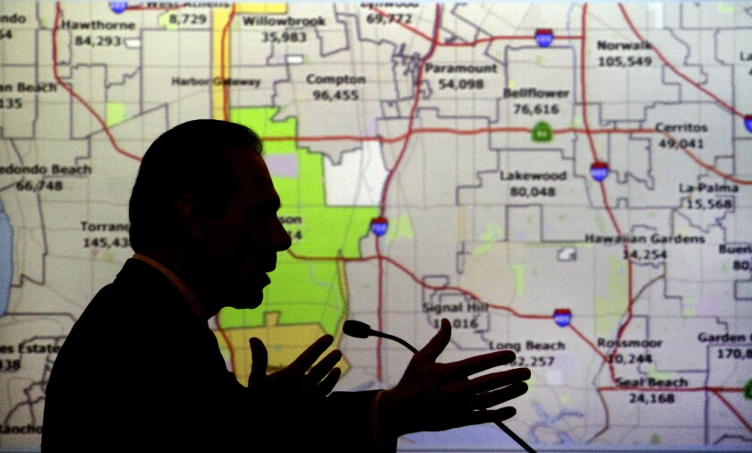 California's citizens redistricting commission held dozens of meetings across California in 2011, like this one in Culver City. And commissioners made it clear none of the proposed maps would include political party information.
