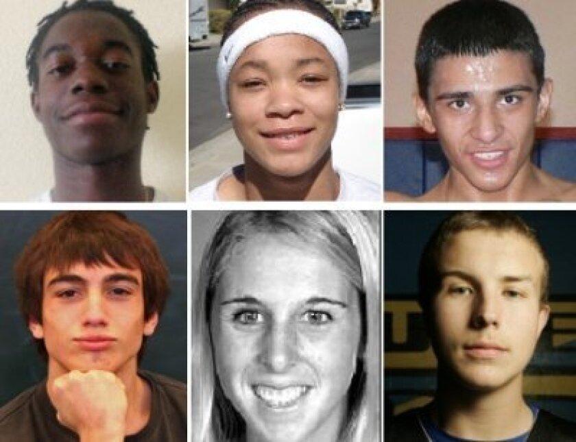 Top, from left: Stephon Lamar, Chemayne Shipley, Alfonso Osuna; bottom, from left: Henry Yorba, Lindsey Holman-Kelley, Damon Williams.