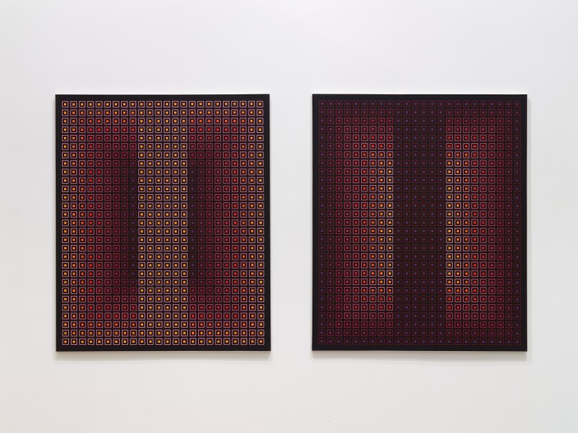 """""""Opposing Pair I & II"""" by Julian Stanczak, 1983. Acrylic on canvas, 60 inches by 60 inches each (diptych)."""