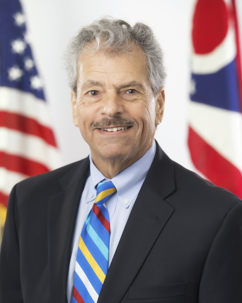 """FILE—This undated file photo provided by the Ohio Governor's office shows former Public Utilities Commission of Ohio, Sam Randazzo. A judge in Columbus has frozen $8 million in assets of a former Ohio utility regulator under investigation by the FBI to preserve them for future collection. The freeze issued Thursday, Aug. 12, 2021, came at the request of Ohio Attorney General Dave Yost, who says without the freeze it would be harder to hold Randazzo """"financially accountable for accepting bribes."""" (AP Photo/Ohio Governor's office via AP, File)"""