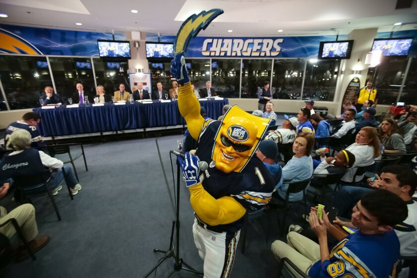 Dan Jauregui, aka, Boltman, is charged up by Friday's Chargers announcement but before he reups his season tickets again in March, he wants to know how long the team will be around. Here he is seen addressing The Citizens Stadium Advisory Group during a public forum held at Qualcomm Stadium last ye