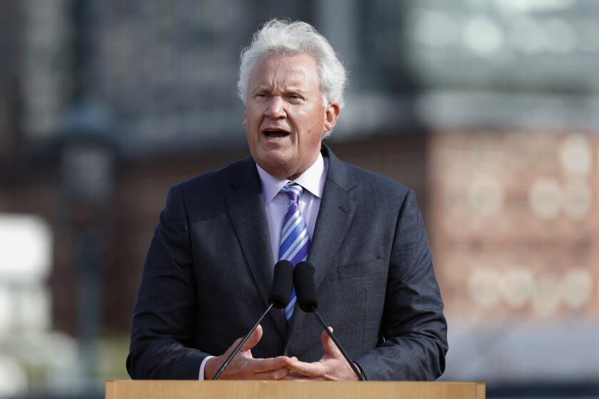 In this Monday, May 8, 2017, file photo, General Electric CEO Jeff Immelt speaks during a groundbreaking ceremony at the site of GE's new headquarters, in Boston.
