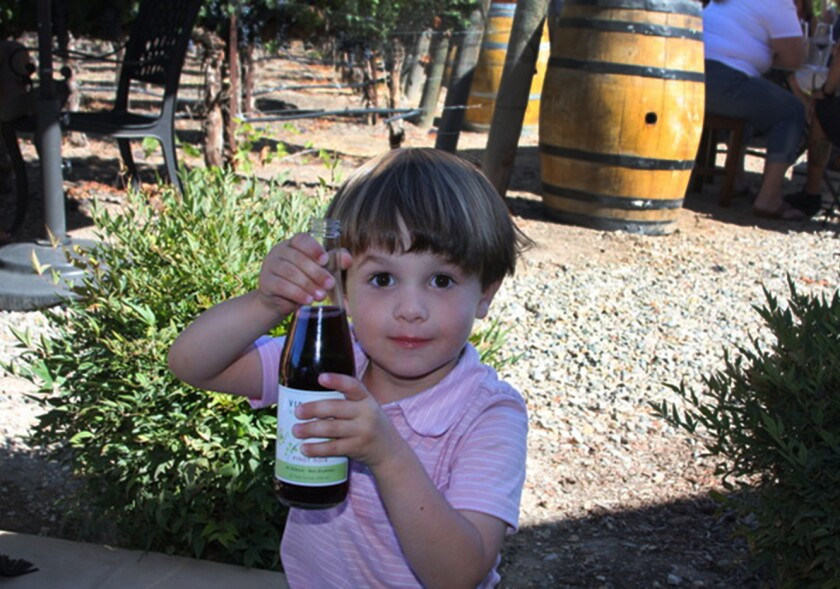 Relax. It's a bottle of nonalcoholic, sparkling grape soda at Vincent Vineyards in Santa Ynez.