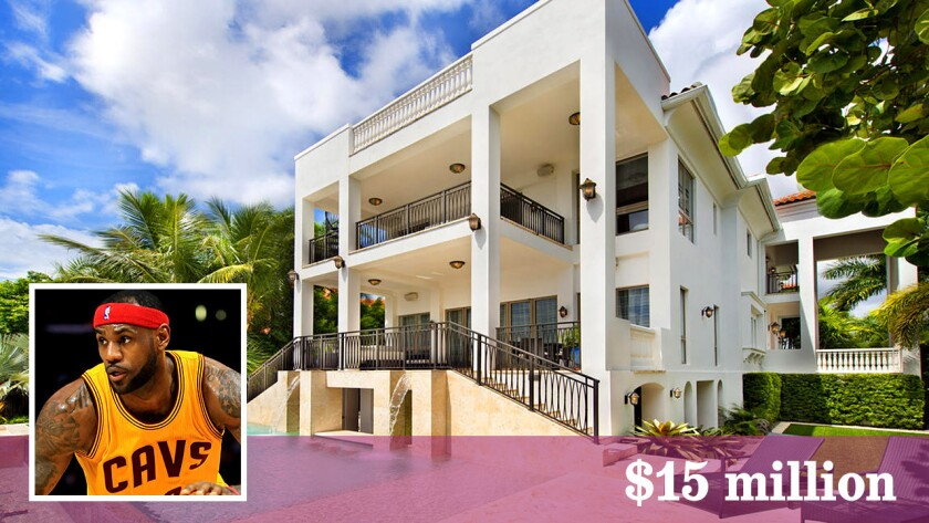 An infinity-edge pool, home theater and rooftop sun deck are among the features at LeBron James' 12,178-square-foot home in Coconut Grove, Fla.