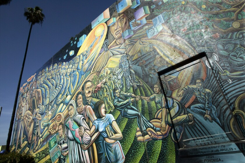 A mural in Salazar Park along Whittier Blvd. in East Los Angeles by Paul Botello