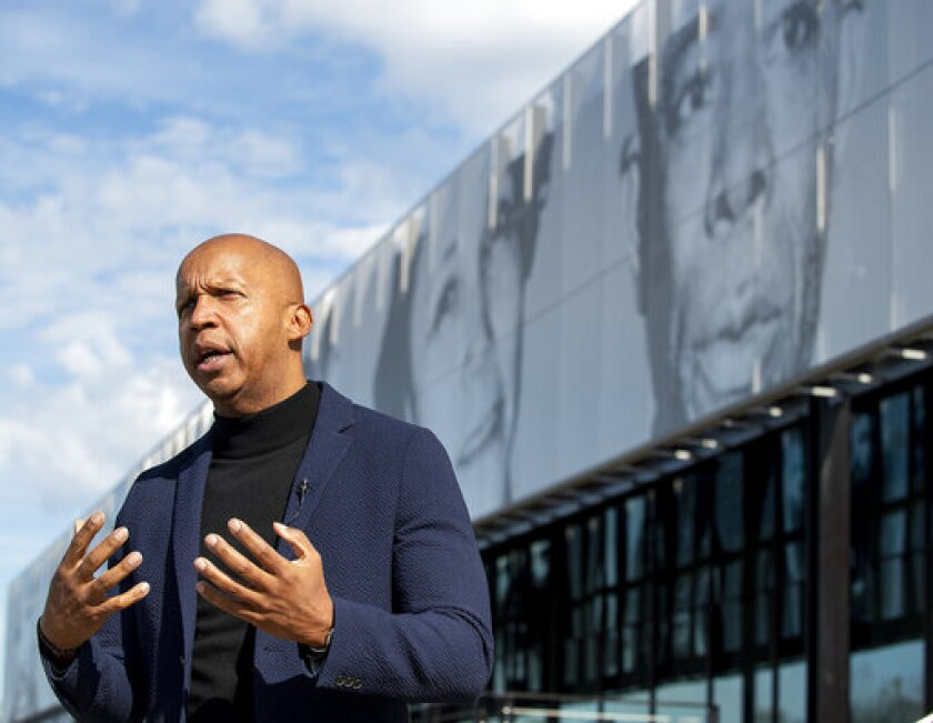 Equal Justice Initiative founder Bryan Stevenson speaks to the media at the EJI Legacy Pavilion in Montgomery, Ala., on Friday, Jan. 17, 2020. The Pavilion, which houses the EJI ticket office, a gift shop, a restaurant, a coffee shop, civil rights displays and a shuttle stop for the Legacy Museum and the Peace and Justice Memorial opens on Saturday, Jan. 18, 2020. ( Mickey Welsh/Montgomery Advertiser via AP)
