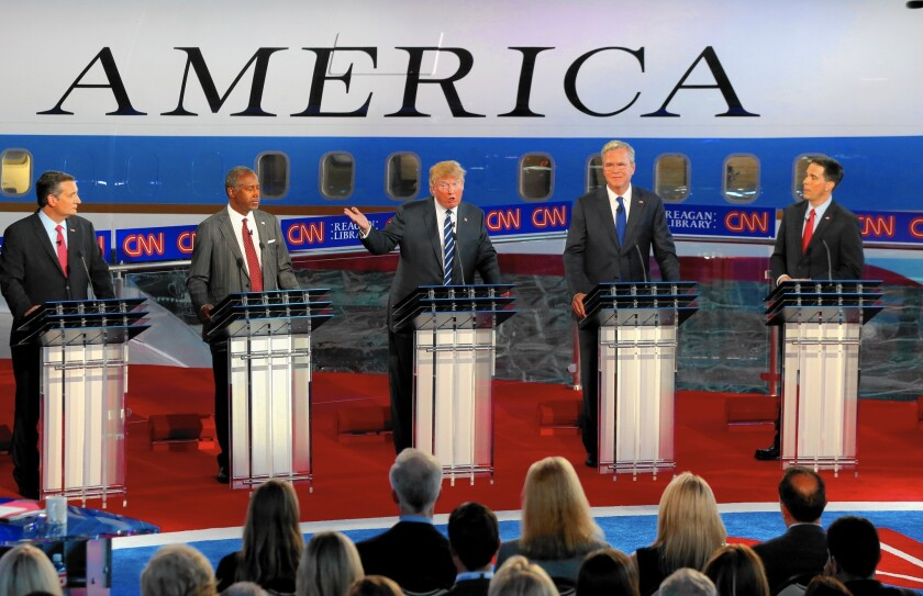 Republican candidates in their debate last month at the Reagan Presidential Library.