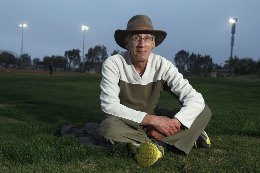 Alan Mindell, 72, at the Cardiff Sports Park in Encinitas earlier this month. He visits the park several times a week to practice sprinting.