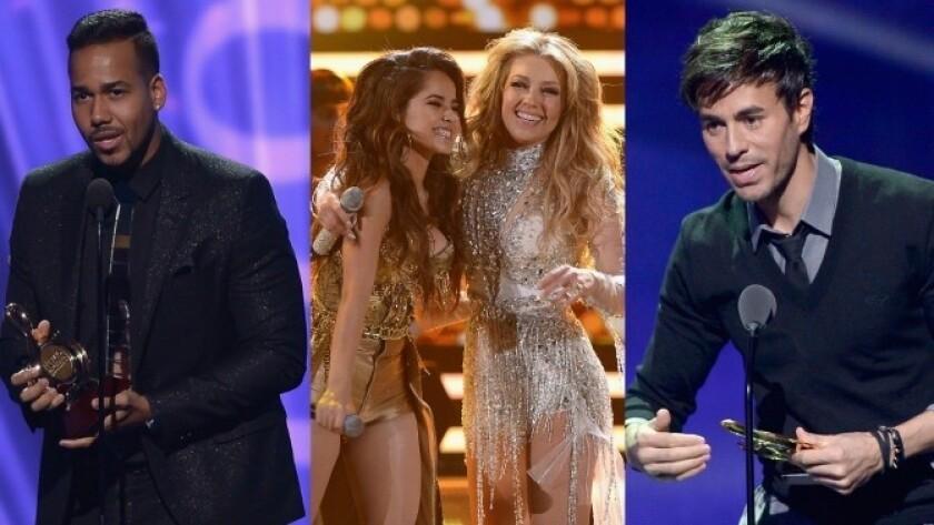 Romeo, Becky G, Thalía y Enrique Iglesias durante su participación en Premios Lo Nuestro 2015