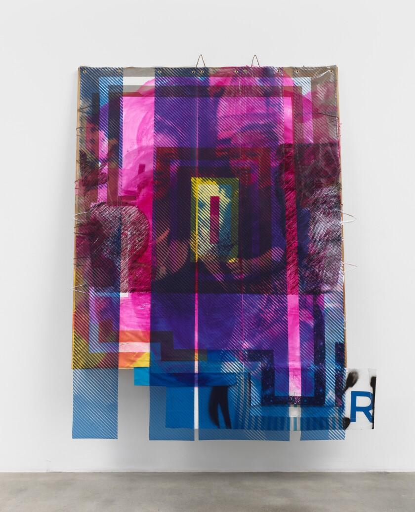 """Girls Time (Heartbreak Hotel)"" by Tomashi Jackson, 2020. Archival print on PVC marine vinyl, acrylic paint, paper bags, Pentelic marble dust, Greek canvas, fabrics from Walmart, American linen."