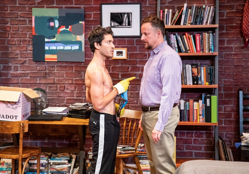 "Ryan Nealy and Stephen Guarino in ""Handjob"" by Echo Theater Company."