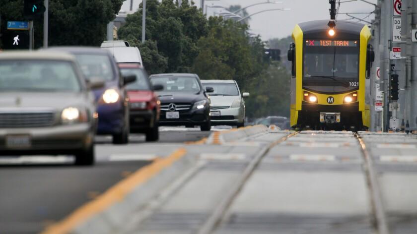 An Expo Line test train runs along Colorado Avenue in Santa Monica on Thursday.