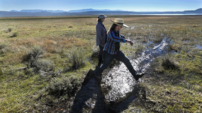 MONO COUNTY, CA-AUGUST 31, 2018: Susanna Danner, right, Land Conservation Program Director for the