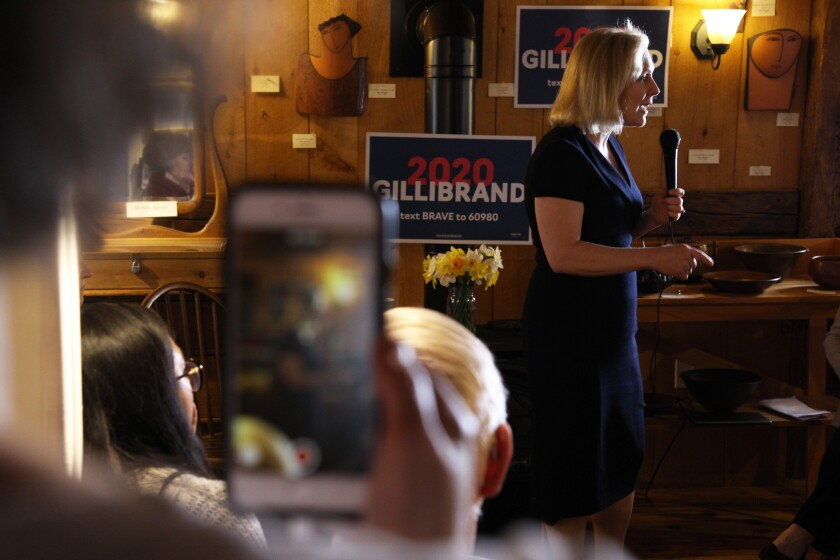 Cheri Shmitt records presidential candidate Kirsten Gillibrand speaking at a bookstore in Warner, N.H.