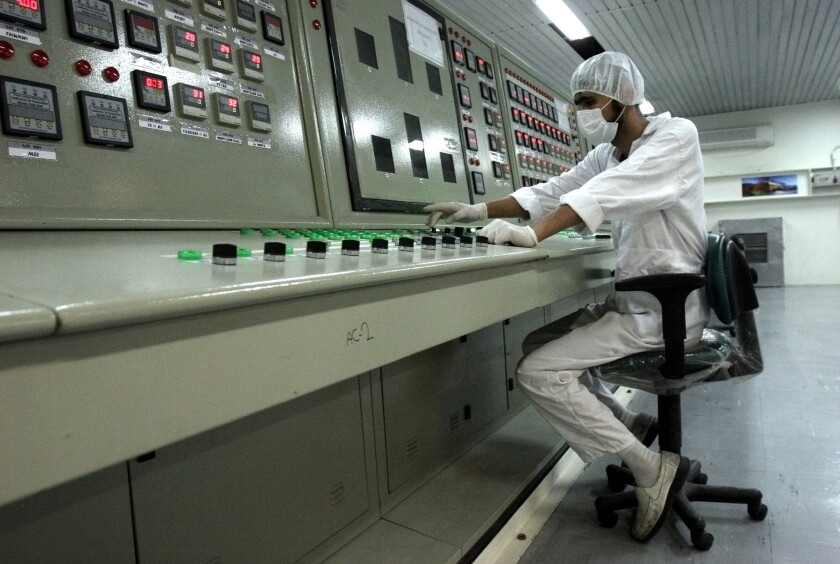 An technician works at the uranium conversion facility in Iran.