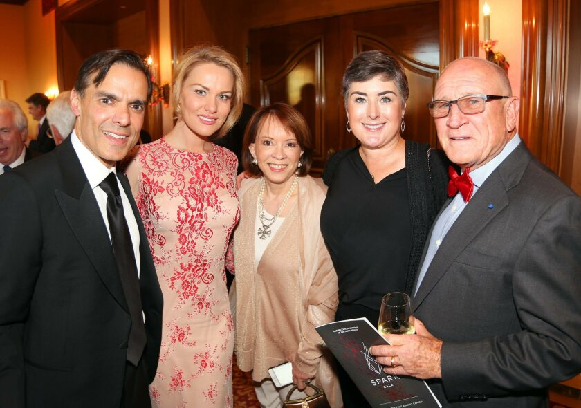 Vahid Moradi, Alena Kortis, guest, Oliva and Peter Farrell at UCSD Moores Cancer Center's Spark Gala, April 16 at the Fairmont Grand Del Mar