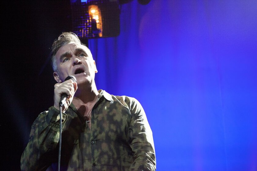 Morrissey is shown at one of his previous San Diego concerts in the Balboa Theater.